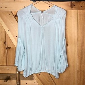 free people   light blue balloon sleeve blouse